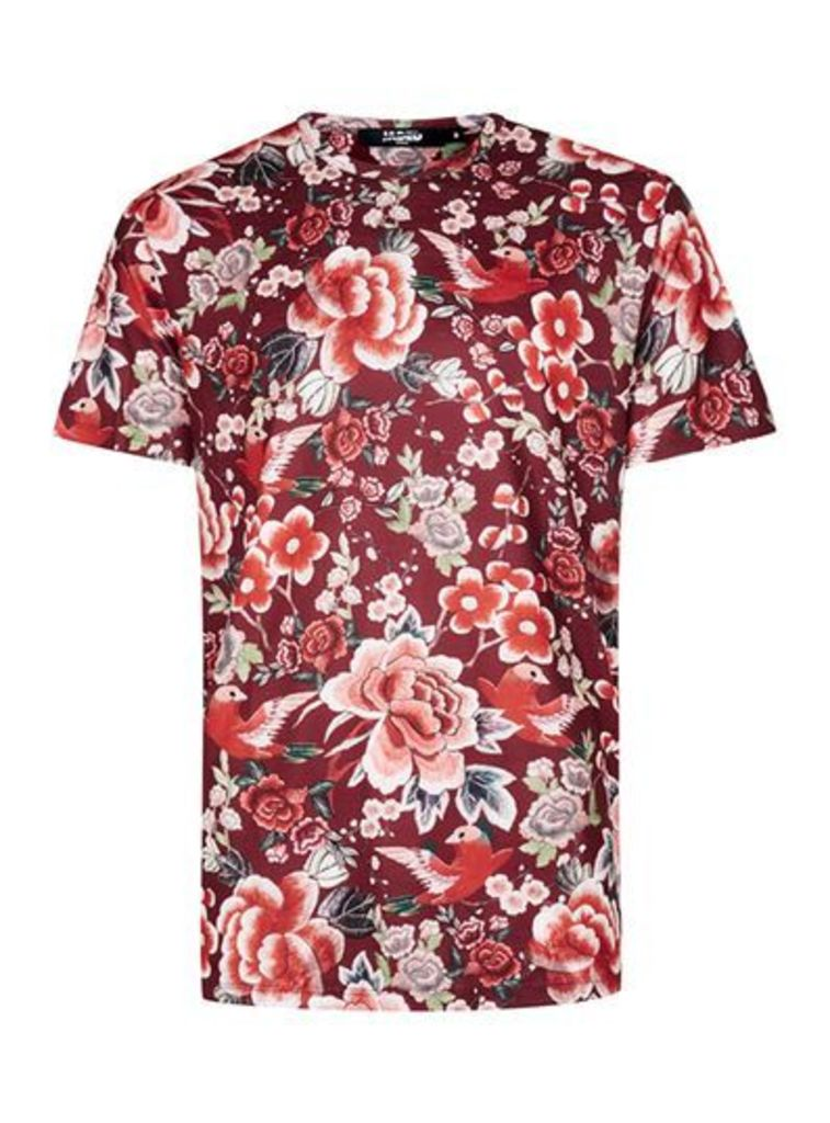 Mens Multi JADED Red Floral Print T-Shirt*, Multi