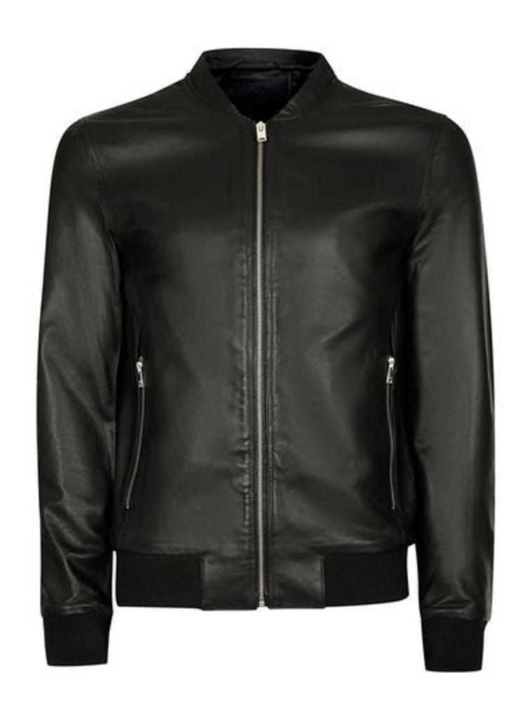 Mens SELECTED HOMME Black Leather Jacket, Black