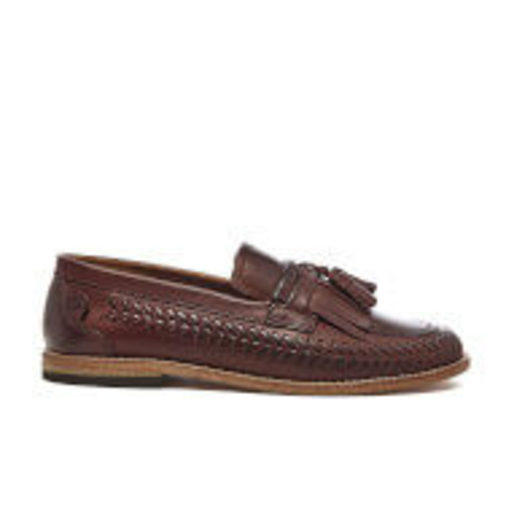 H Shoes by Hudson Men's Zair Calf Leather Tassle Weave Loafers - Cognac - UK 11