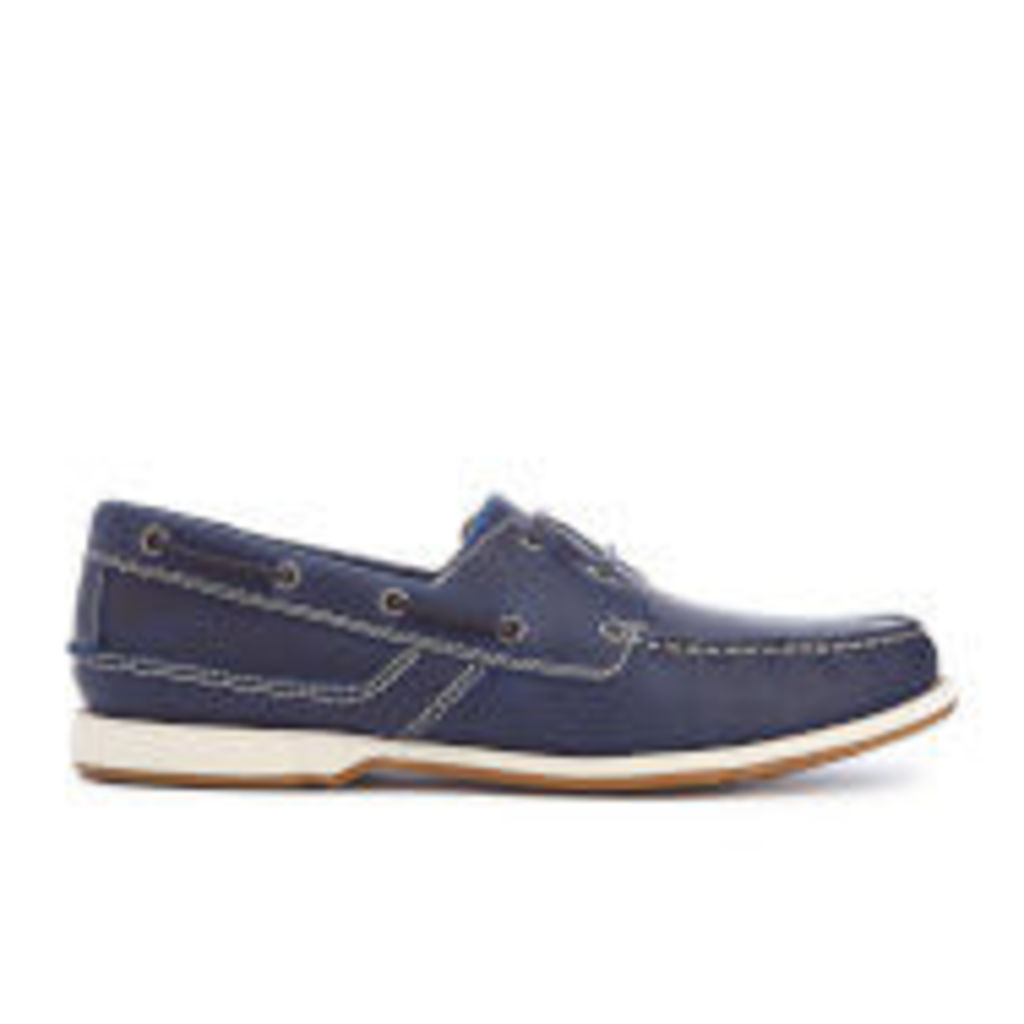 Clarks Men's Fulmen Row Leather Boat Shoes - Navy - UK 7