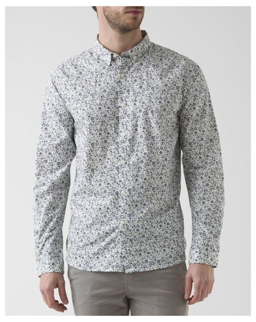 Gray Flower Poplin Shirt