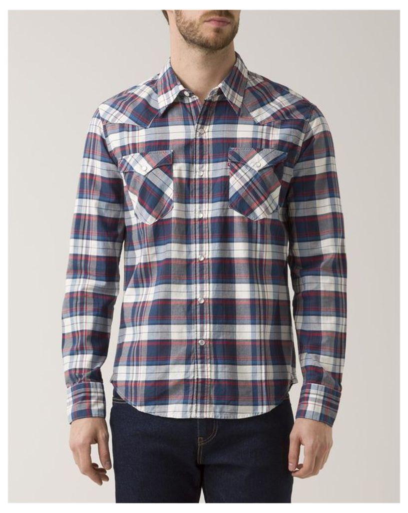 Blue Checkered Press-Stud Shirt