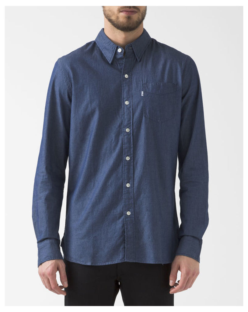Button-Down Collar Dark Chambray Shirt With Pocket