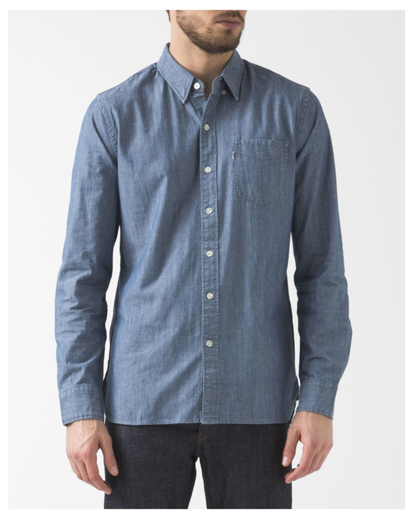 Button-Down Collar Chambray Shirt With Pocket