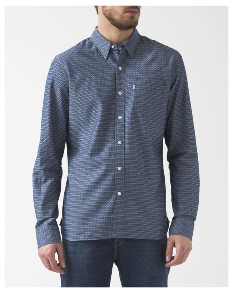 Blue Textured Pattern Button-Down Collar Chambray Shirt With Pocket
