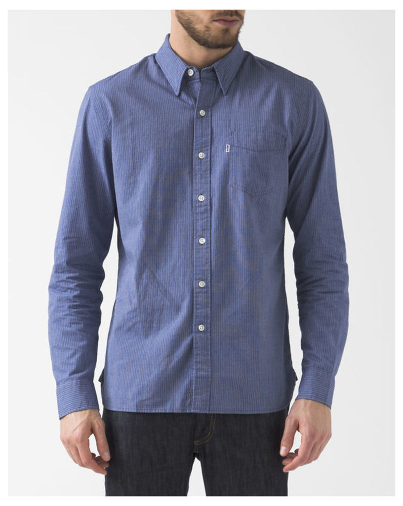 Striped Button-Down Collar Chambray Shirt With Pocket