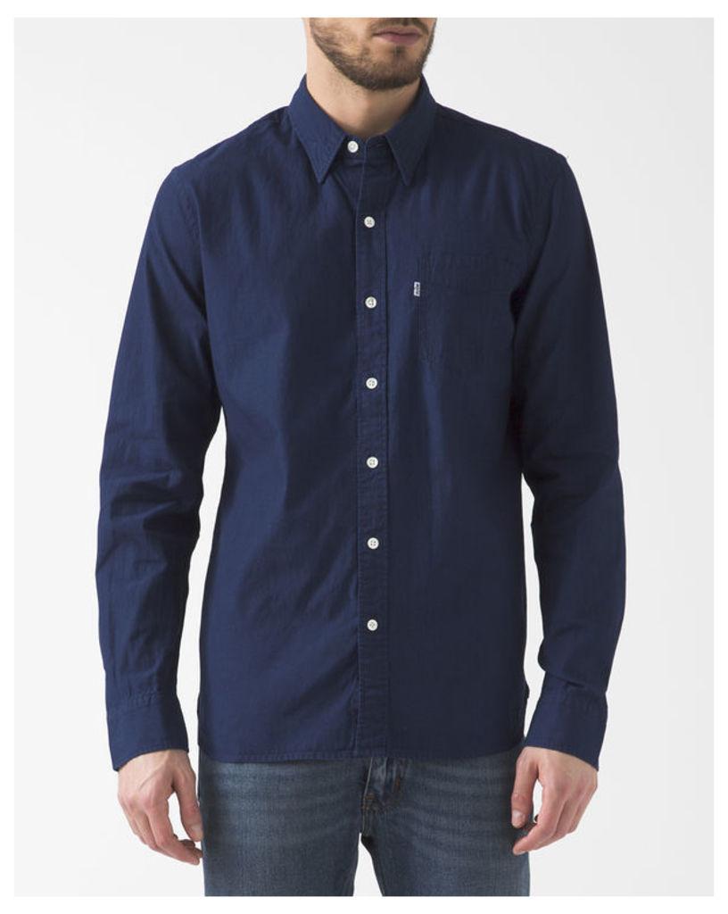 Indigo Button-Down Collar Chambray Shirt With Pocket