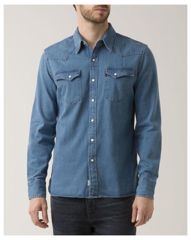 Western Faded Indigo Denim Selvedge Shirt