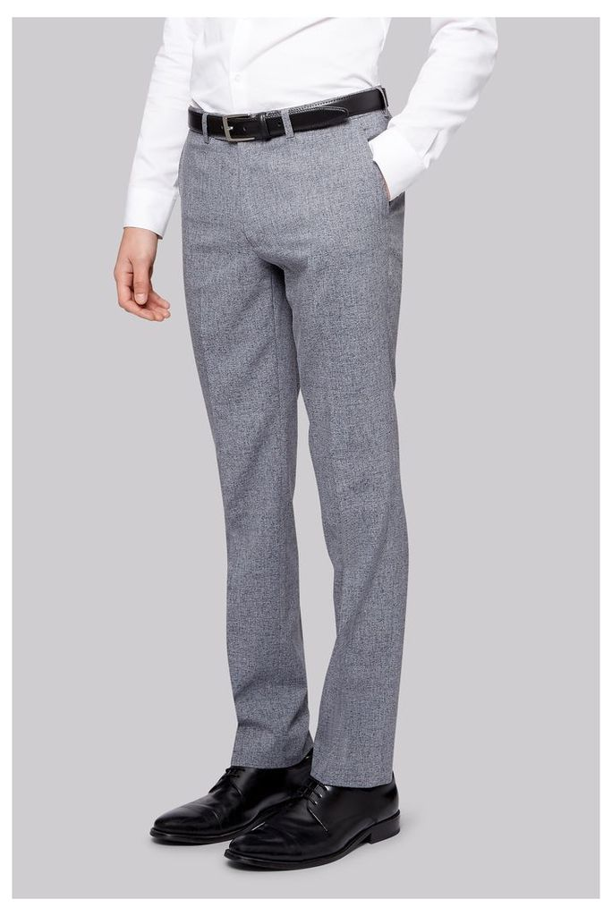 Moss London Skinny Fit Grey Textured Trousers