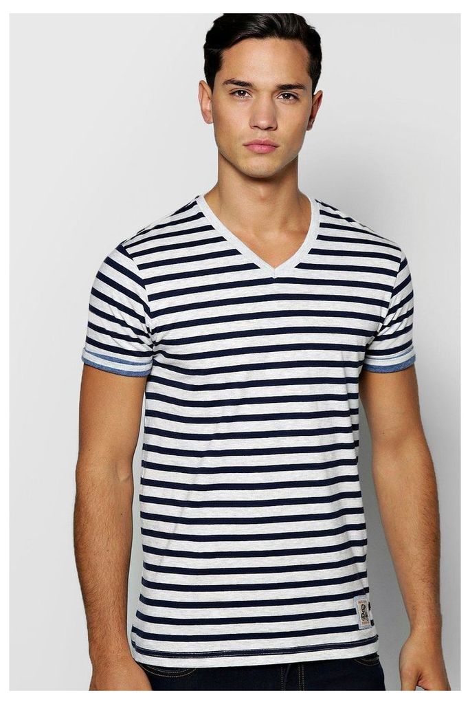 V Neck T Shirt With Roll Sleeves - ecru
