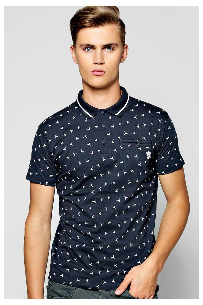 Over Print Geo Polo - navy