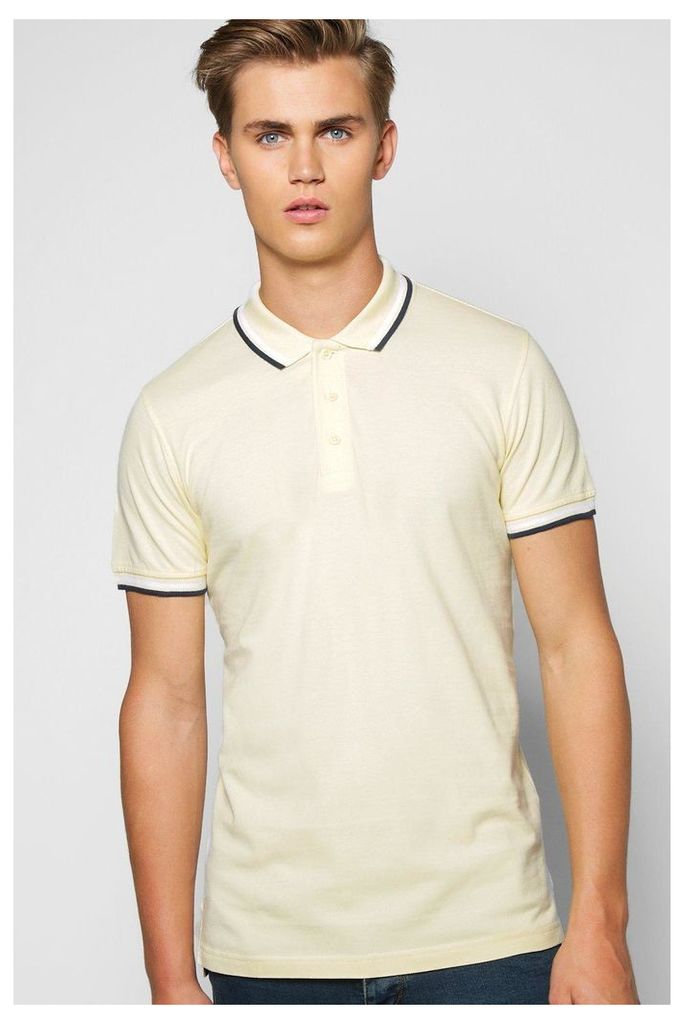 Button Through Polo - lemon