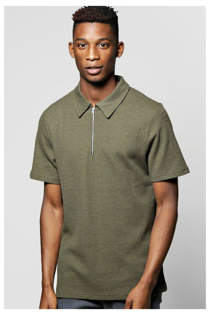 Waffle Polo With Zip Placket - olive