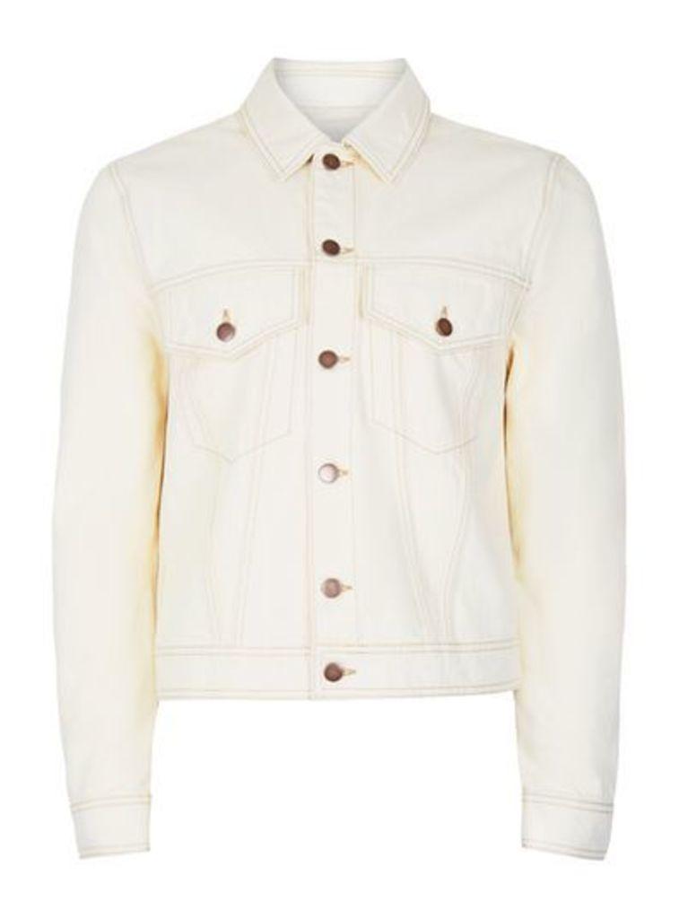 Mens Cream TOPMAN DESIGN Off White Trucker Jacket with Separate Badges, Cream