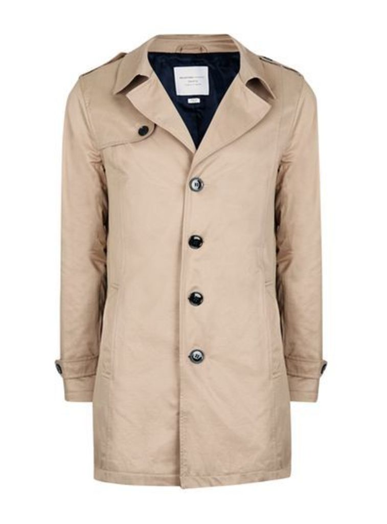 Mens SELECTED HOMME Light Brown Trench Coat, Brown