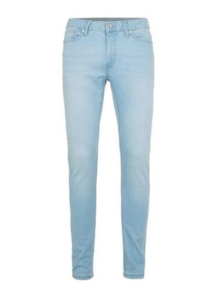 Mens Bleach Wash Blue Spray On Skinny Jeans, Blue