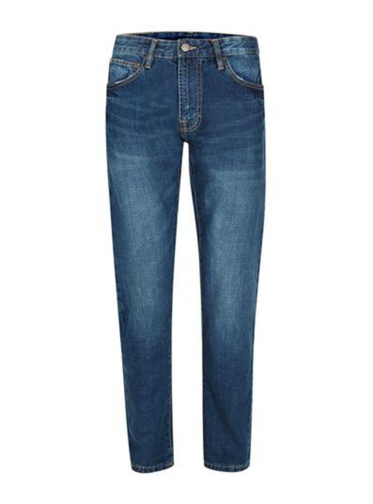 Mens WAVEN Blue Contrast Stitch Regular Fit Jeans*, Blue