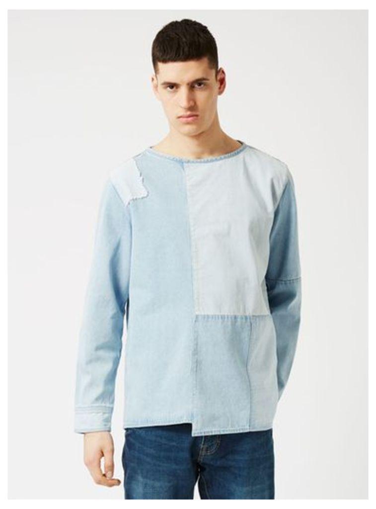Mens WAVEN Blue Patchwork Distressed Oversized T-Shirt*, Blue