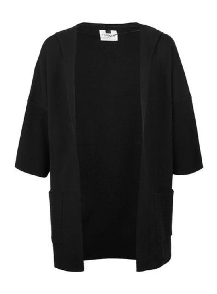 Mens Black Knitted Kimono Hoodie, Black