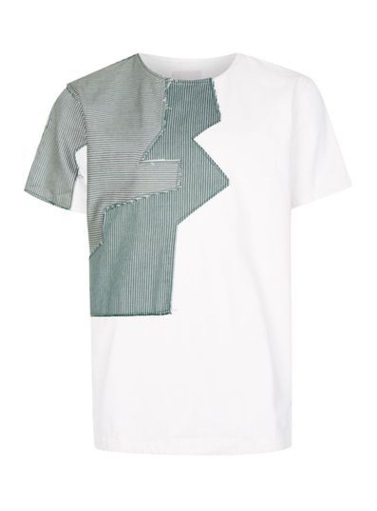 Mens WAVEN Blue Patchwork Distressed Denim T-Shirt*, Blue
