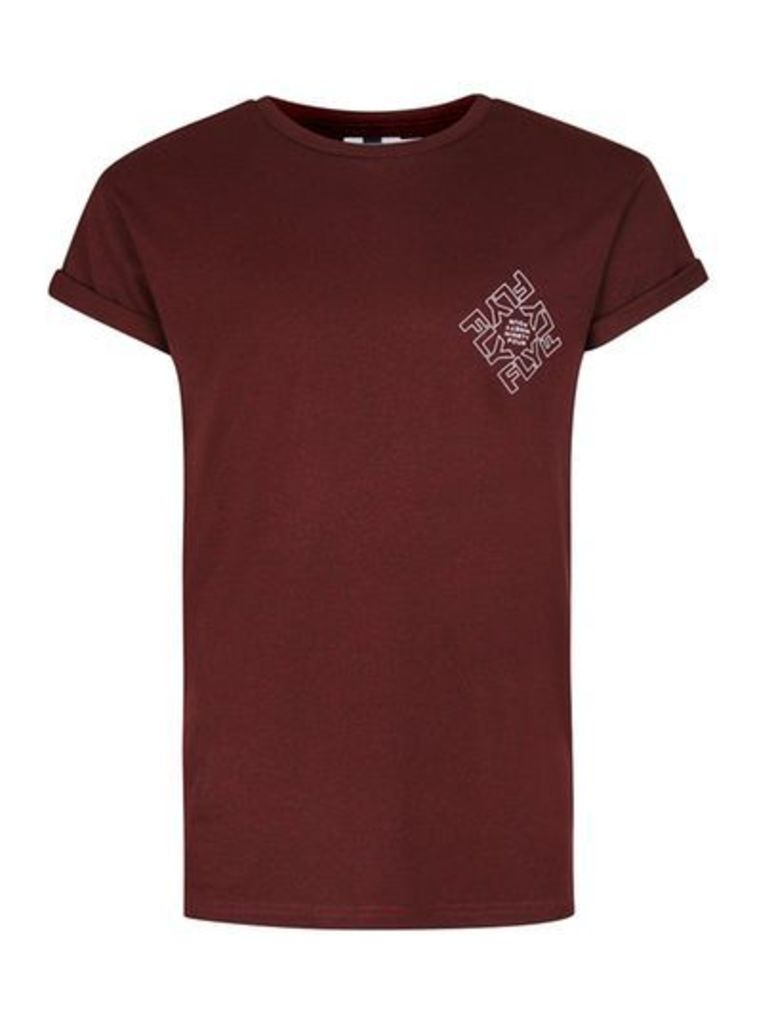 Mens Red Burgundy Fly Print Muscle Fit Roller T-Shirt, Red