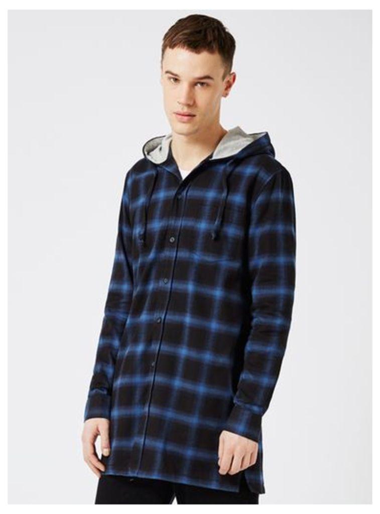 Mens Blue Check Hooded Longline Casual Shirt, Blue
