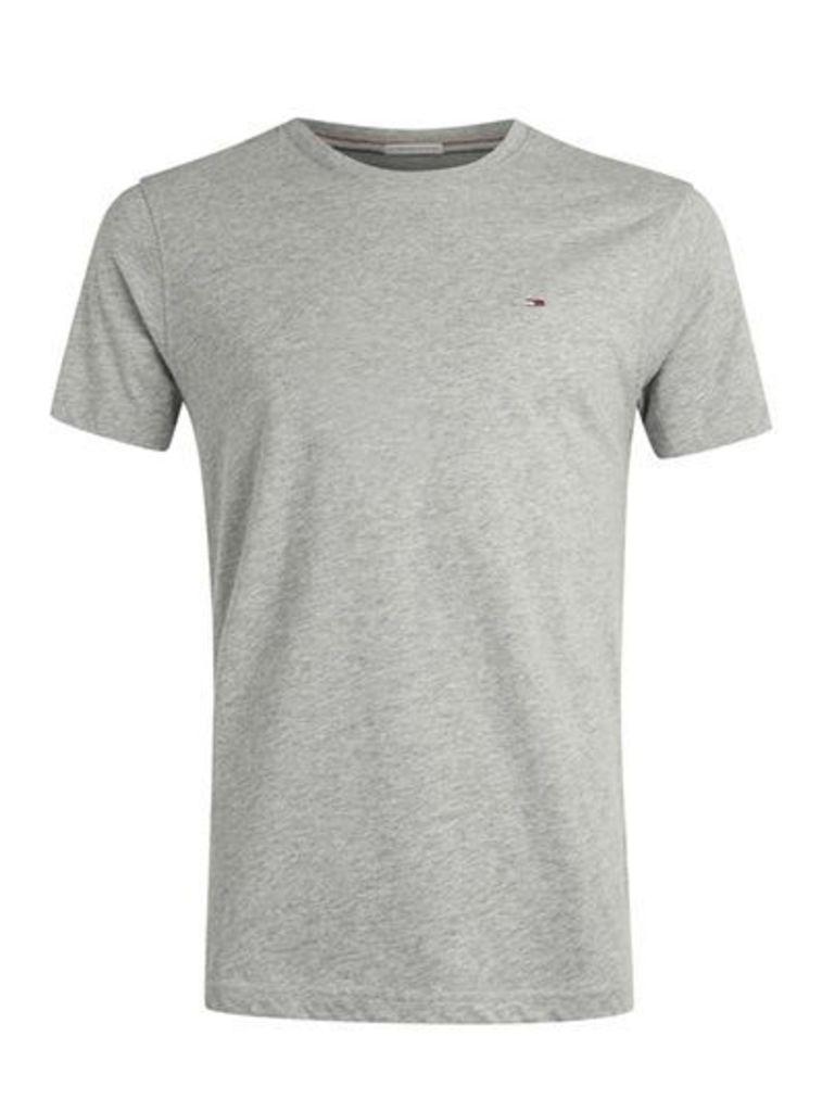 Mens Mid Grey HILFIGER DENIM Grey Logo T-Shirt, Mid Grey