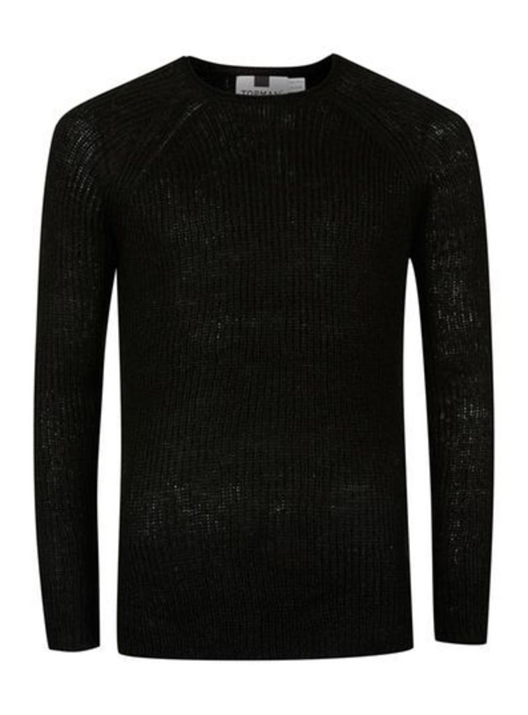 Mens Black Open Knit Slim Fit Jumper, Black