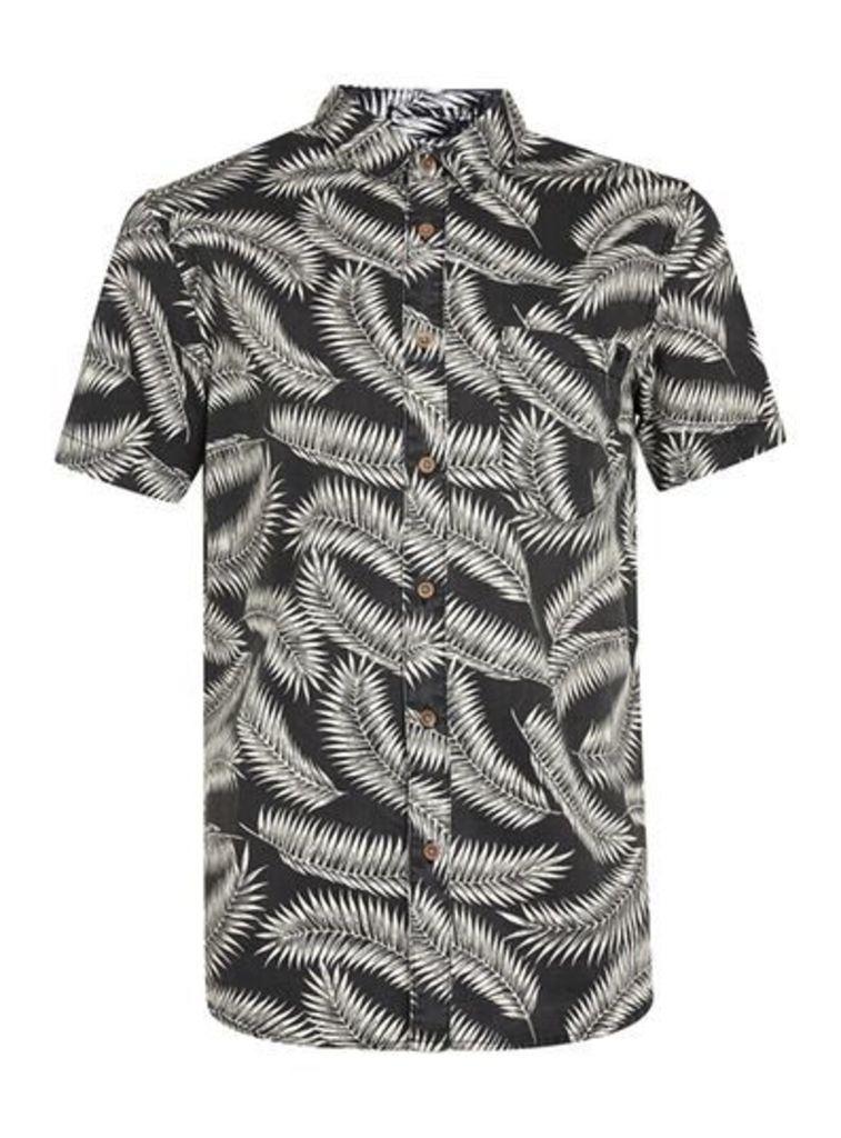Mens Brown GLOBE Black and Off White Leaf Print Short Sleeve Shirt*, Brown