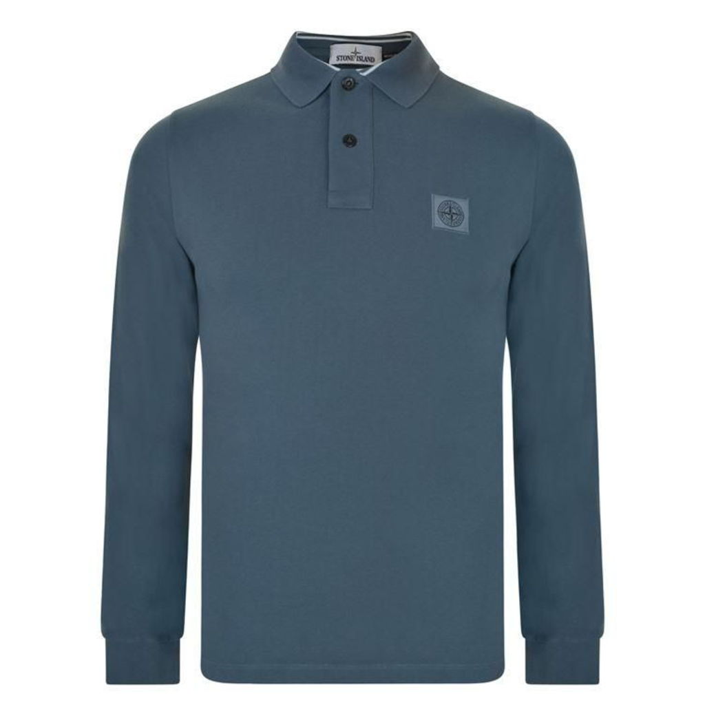 STONE ISLAND Long Sleeved Pique Polo Shirt