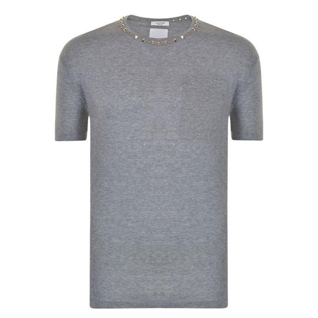 VALENTINO Stud Collar Crew T Shirt