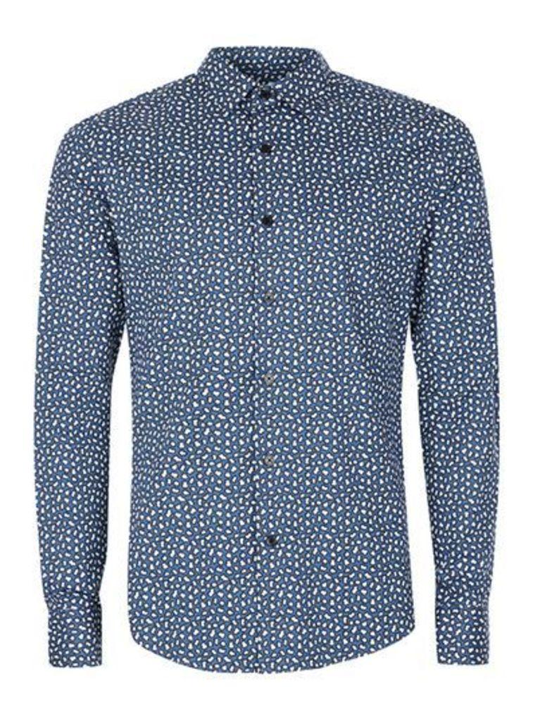 Mens Blue and Black Printed Skinny Fit Smart Shirt, Blue
