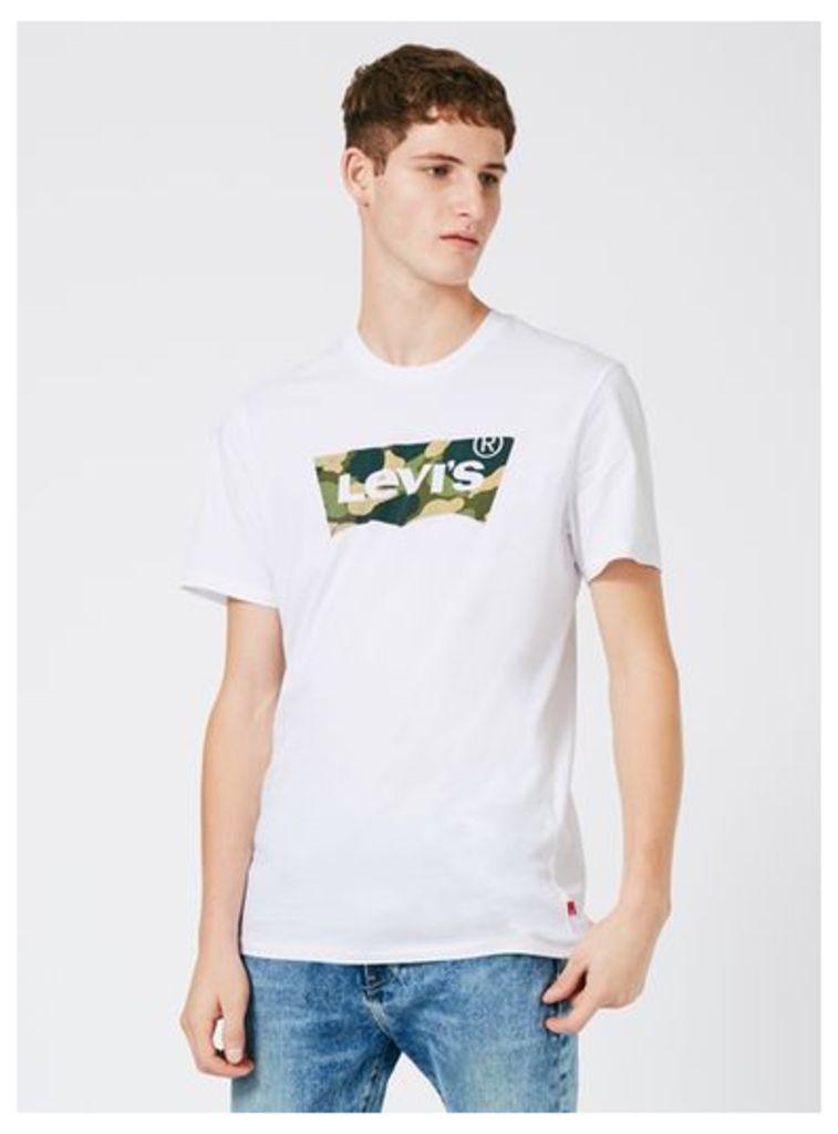 Mens LEVI'S White Camouflage Logo T-Shirt, White