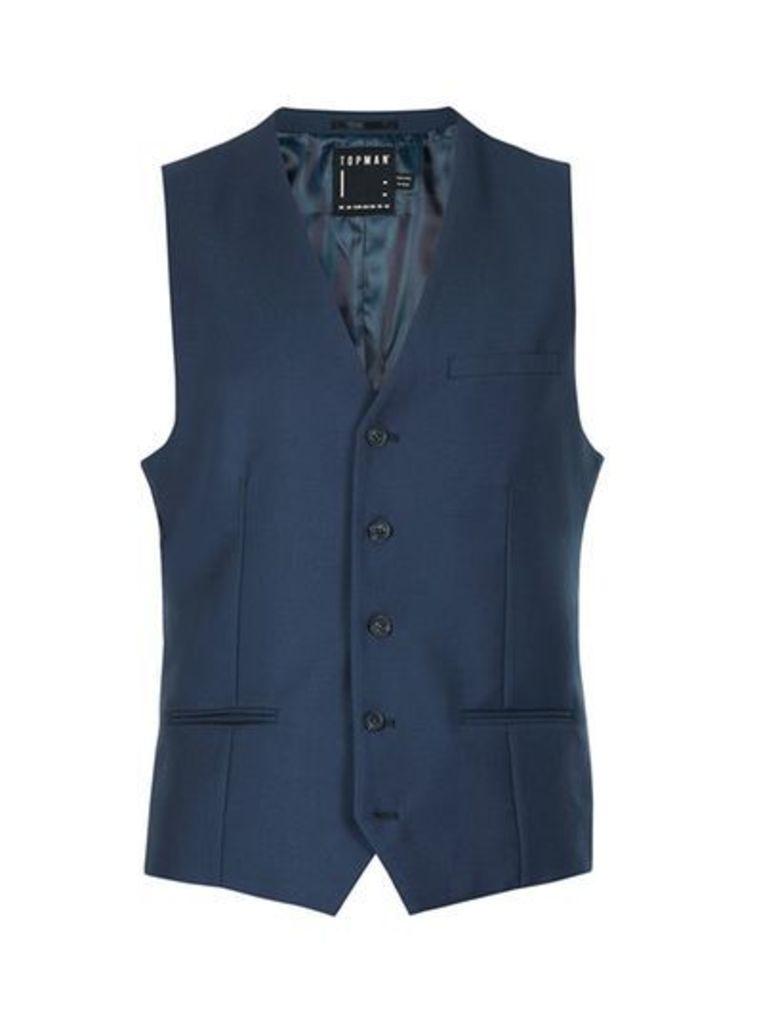 Mens Mid Blue Skinny Fit Suit Waistcoat, Blue