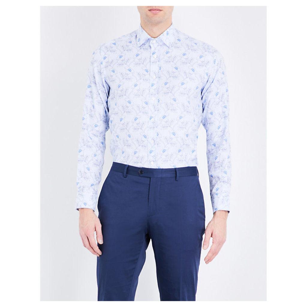 Etro Floral-print slim-fit cotton shirt, Mens, Size: 15.5, Blue