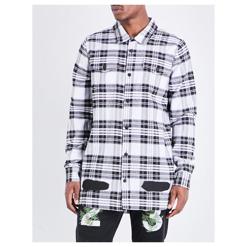 Spray-effect check-print cotton shirt
