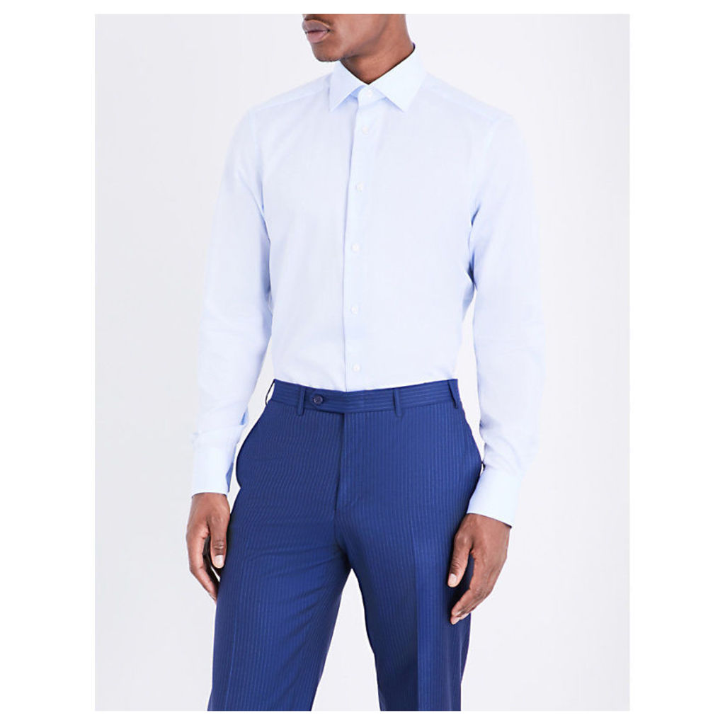 Ermenegildo Zegna Jimmy diamond-print regular-fit cotton shirt, Mens, Size: 16.5, Lt blue