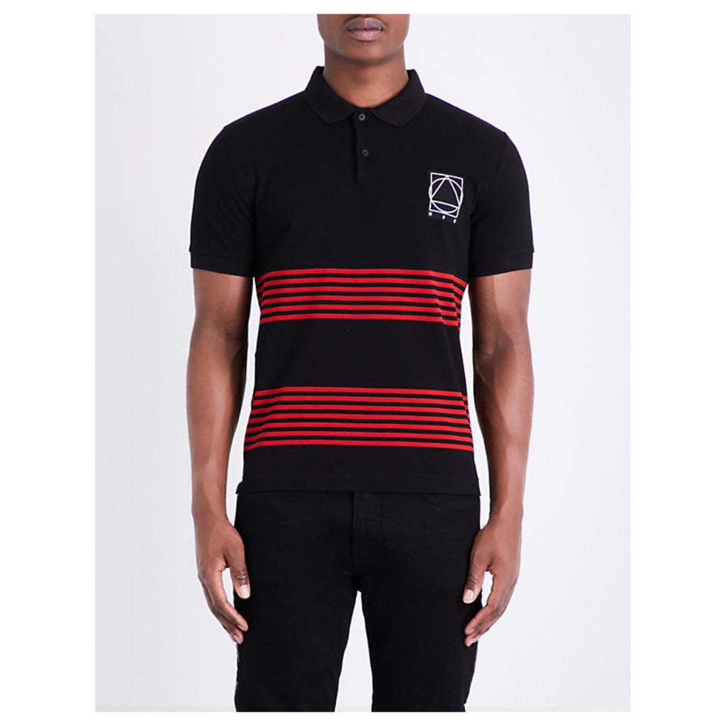 Panelled stripe cotton polo shirt