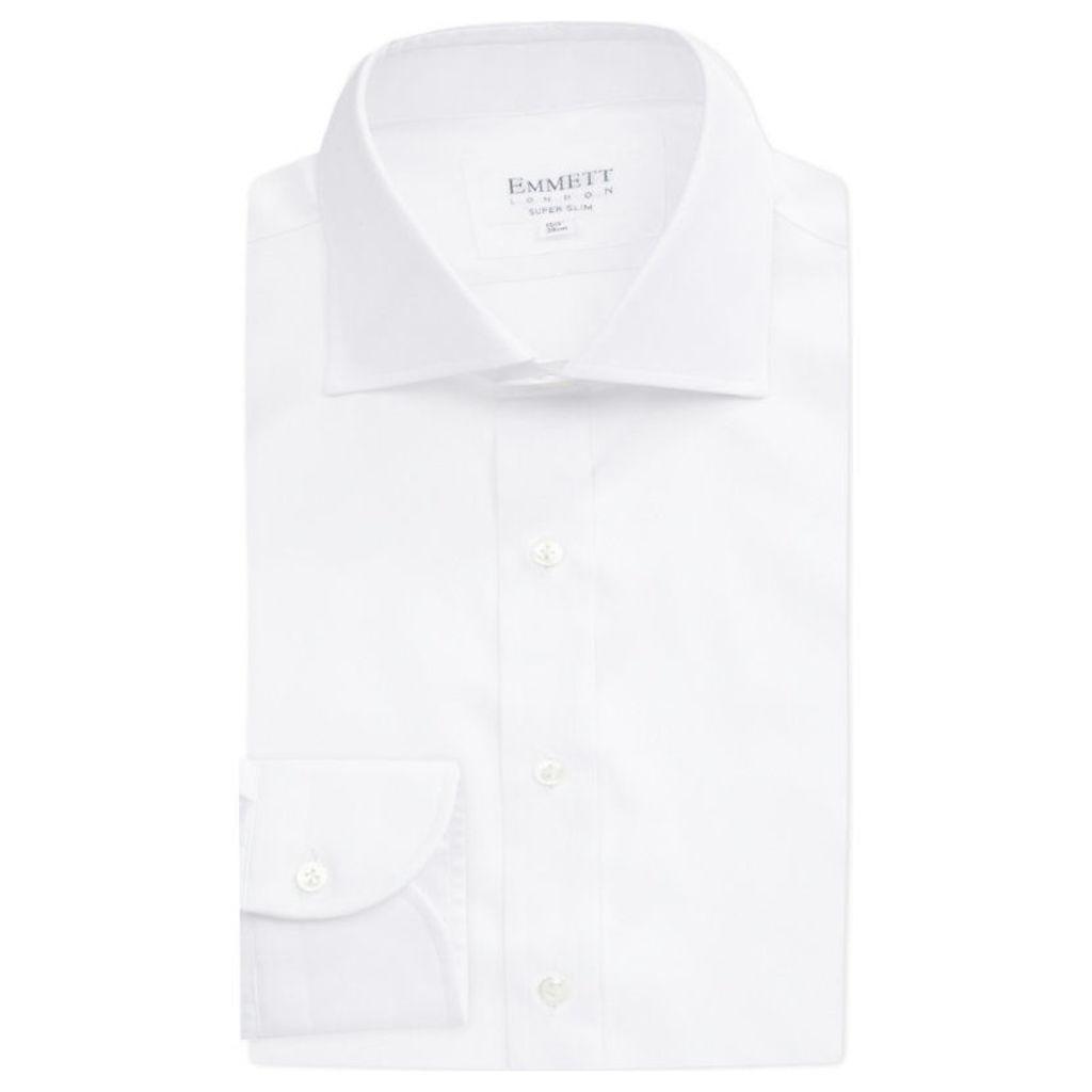 Emmett London Slim-fit single-cuff cotton shirt, Mens, Size: 16.5, White twill