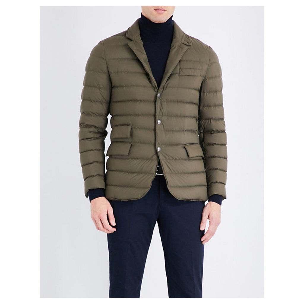 Ralph Lauren Purple Label Suede-detail down-filled quilted shell jacket, Mens, Size: M, Olive