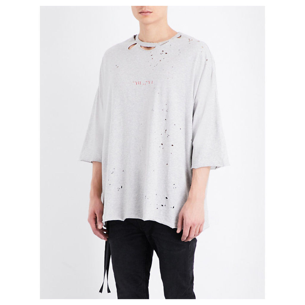 Distressed cotton-jersey t-shirt