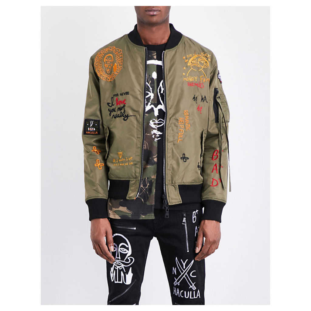Haculla Bombs Over Brooklyn shell bomber jacket, Mens, Size: L, Army green