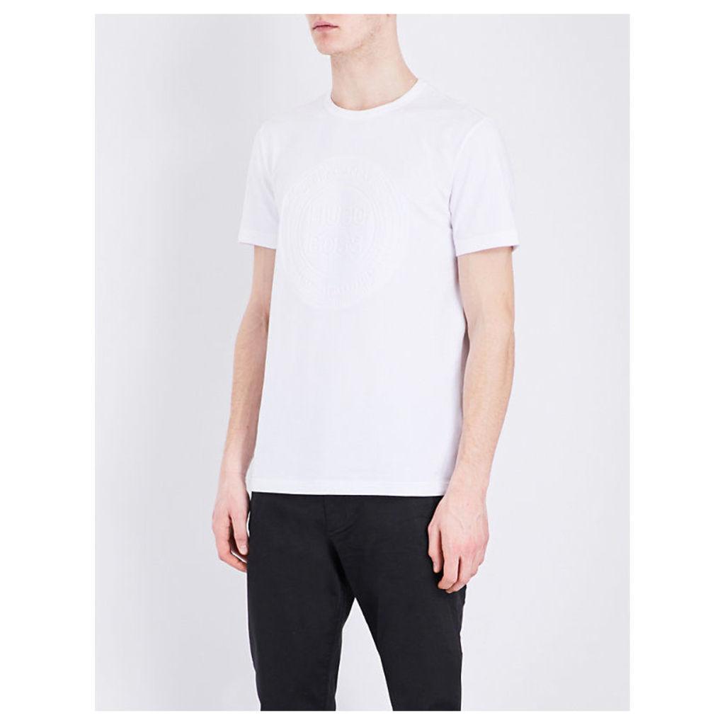 Hugo Boss Embossed-logo cotton-jersey t-shirt, Mens, Size: M, White