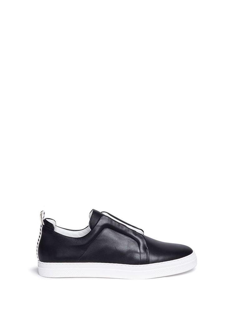 Elastic band leather slip-on sneakers