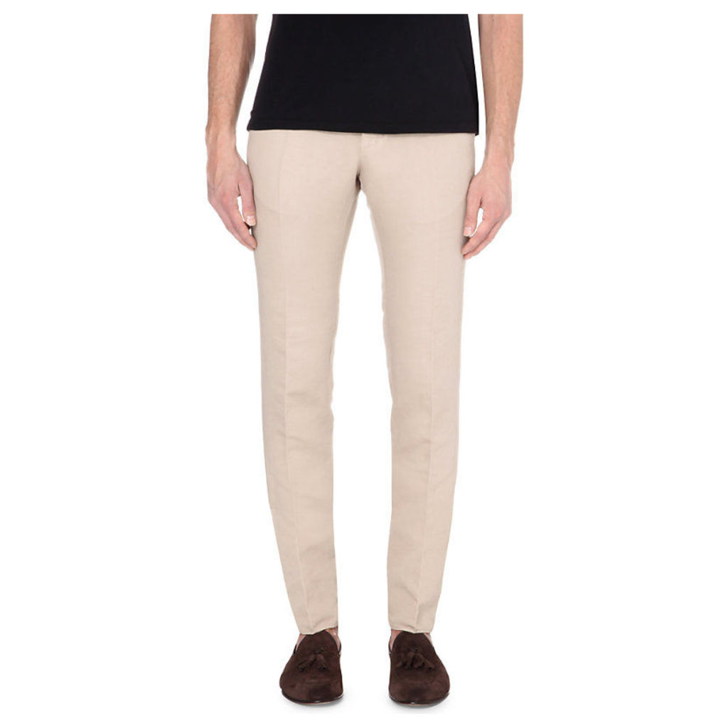 Slowear Slim-fit linen and cotton-blend chinos, Mens, Size: 31/01/1900, Beige