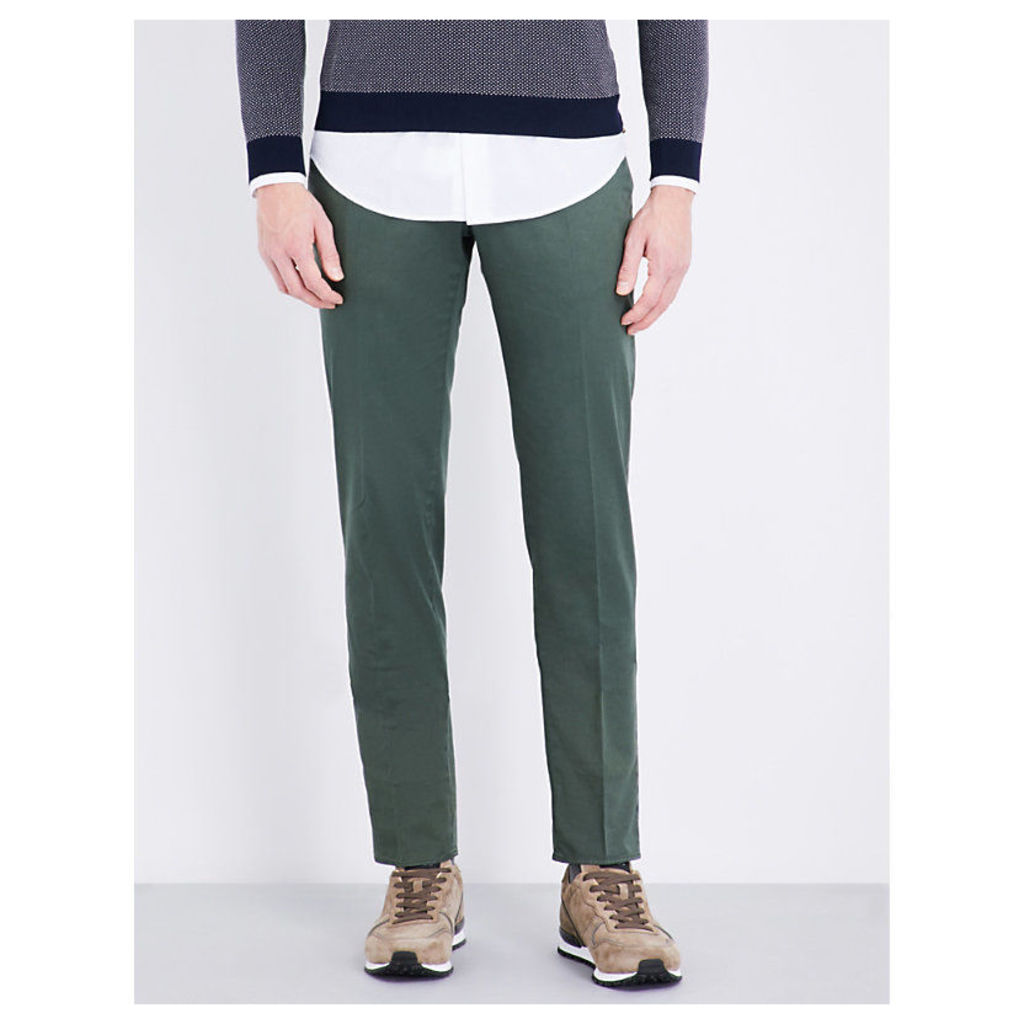 Slim-fit linen and cotton-blend chinos