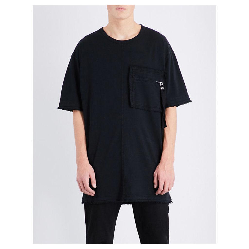 Blood Brother Zip patch pocket cotton-jersey t-shirt, Mens, Size: L, Black