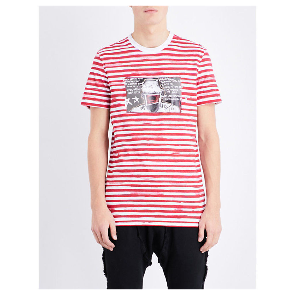 Blood Brother Striped graphic-print cotton-jersey t-shirt, Mens, Size: L, Red stripe