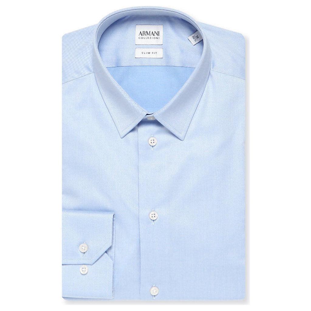 Armani Collezioni Single-cuff stretch-cotton shirt, Mens, Size: 16/01/1900, Sky