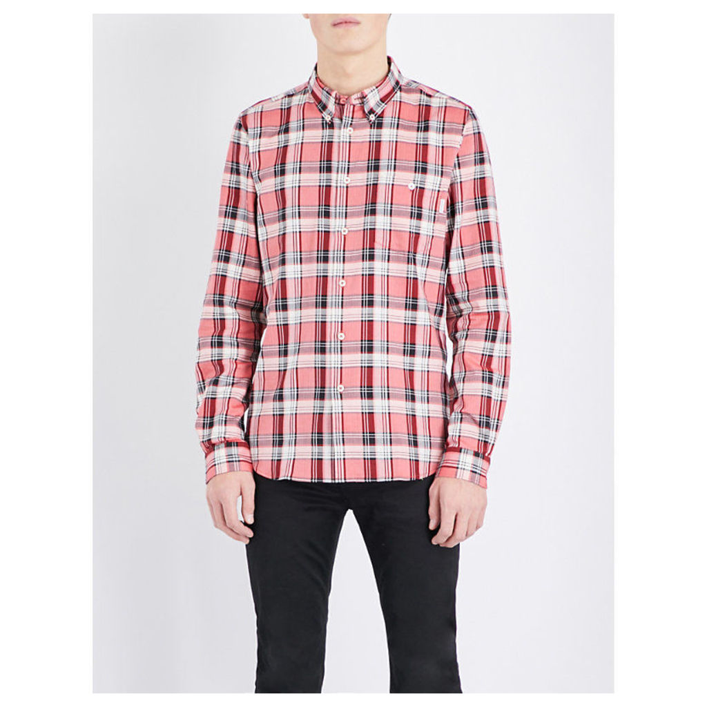 Ps By Paul Smith Checked tailored-fit cotton shirt, Mens, Size: L, Red